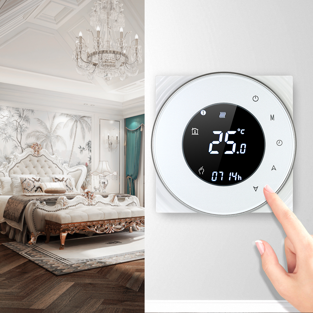 Programmable Gas Boiler Heating Thermostat Dry Contact Temperature Controller Touchscreen LCD with Voice Control Function