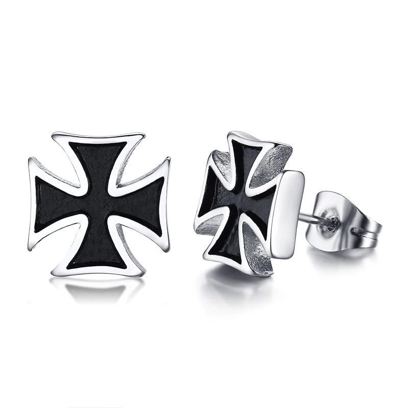 a2d6bb1c985 2PCS Stud Earrings Knights Templar Iron Cross Ear Piercing Stainless Steel  Maltese Crucifix Biker Earings