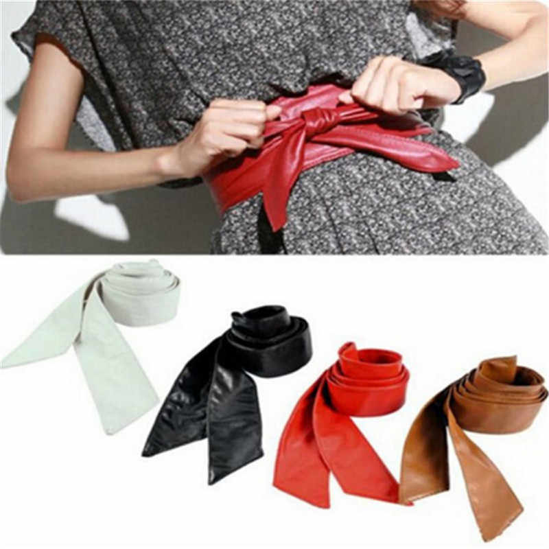 Hot Women Leather Soft Self Tie Bowknot Band Wrap Around Sash Belt Plus Size Leather Self Tie Bowknot Band Wrap Around Sash Belt