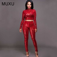 red sequin glitter sexy bodycon women cropped two piece set top and pants black suit winter party club sparkly womens clothing