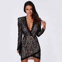 MUXU black crochet lace short sexy dress woman long sleeve vestidos bodycon kleider fashion clothes jurken sukienka ukraine jurk