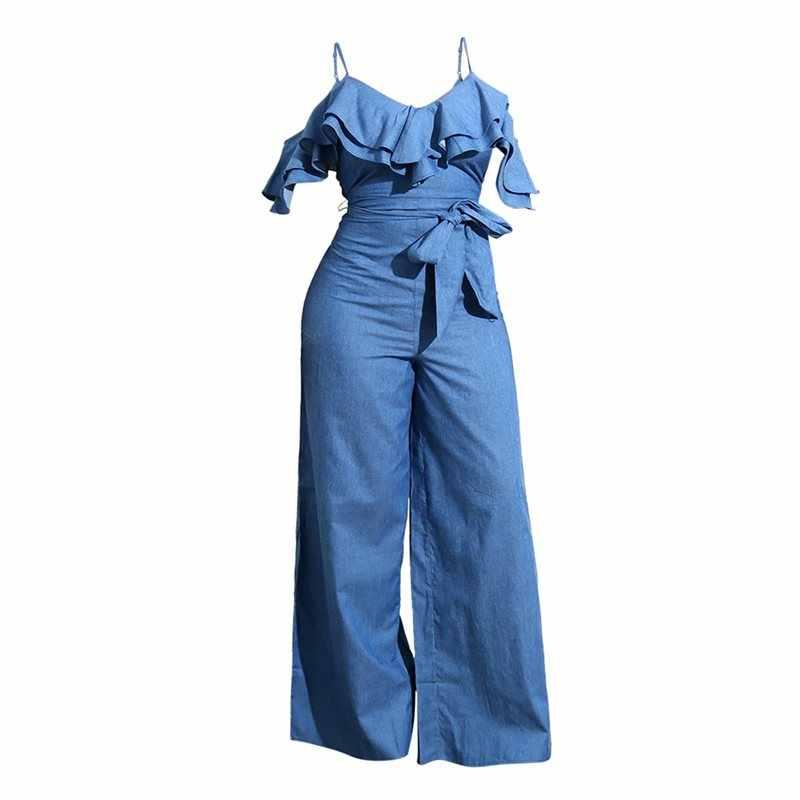 Модные повседневные джинсовые комбинезон женщин Лето 2019 ремень широкие ноги комбинезоны с открытой спиной оборки кружева девушка уличный шик сексуальный комбинезон