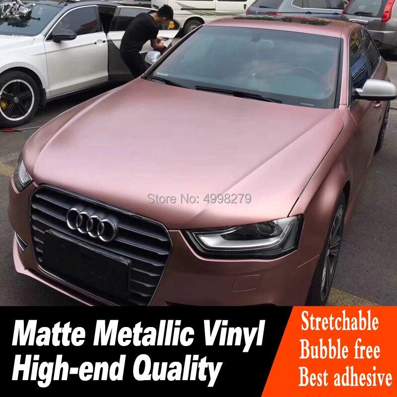 Plus haute qualité En Or Rose mat Métallique emballage de voiture en vinyl Autocollant De Voiture Sans Bulle colle À Faible viscosité série Haut de gamme