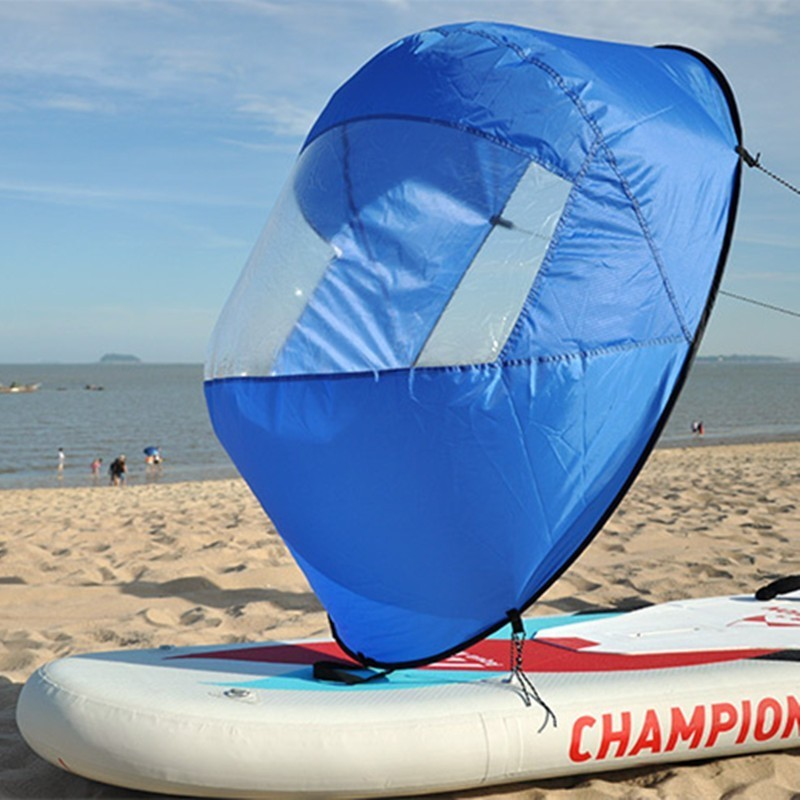 """46/"""" Blue Kayak Sail Wind Paddle Instant Popup Board Downwind Boat SUP Canoe"""