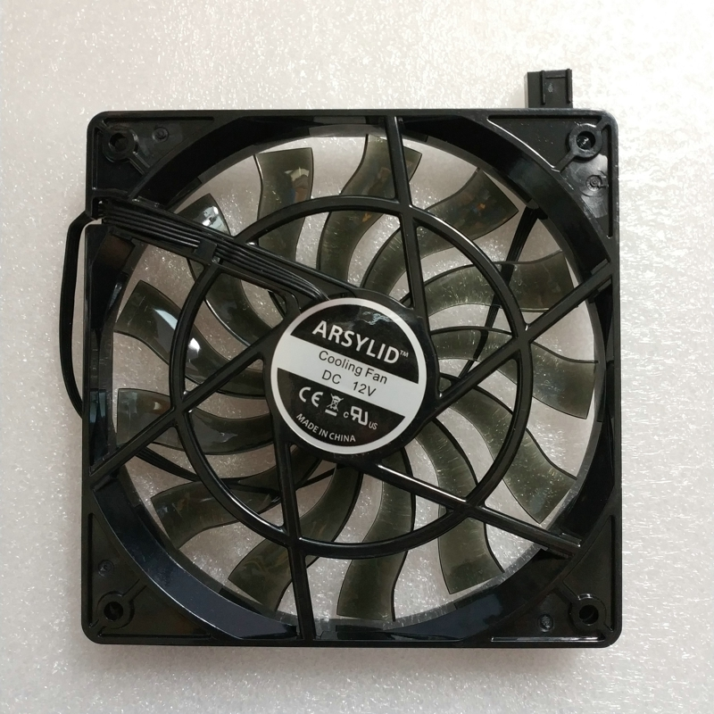 ARSYLID 12015BM 12 cm 120mm 15mm ultra-delgada de ventilador de refrigeración para ordenador caso 4pin PWM negro transparente