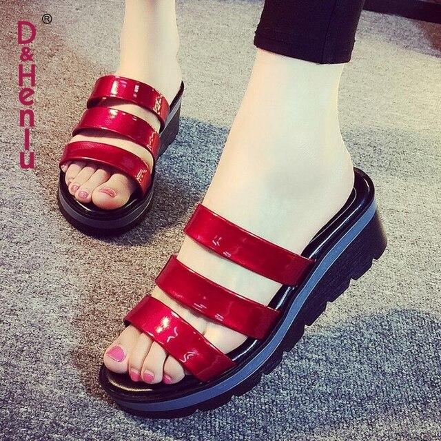 f3e72b641f  D   Henlu  Chinelos Mulheres Sapatos de Verão Mulher Sandálias Plataforma  Plana Sandália Mulher