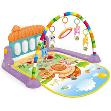 Baby Activity Gym Kick and Play Piano Mat Center With Melodies Rattle Musical Toy Tummy Time Mat For Infant Toddler 0-36 Months(China)