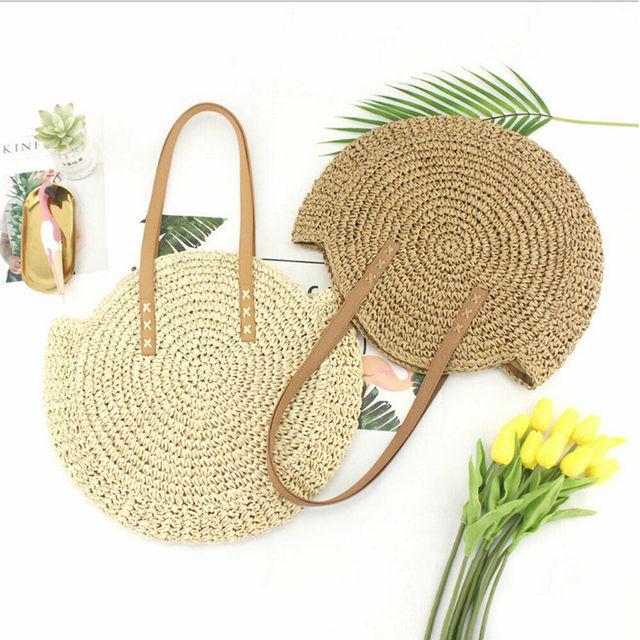 2019 The Newest Fashion Straw Suit More Clothing Women Round Circular Rattan Wicker Straw Woven Crossbody Beach Bag BasketGift