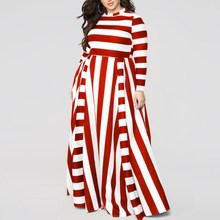 Women Fat MM Slim Stripe Print Dress Causal Female Long Sleeve Plus Size Maxi High Waist Party 7XL