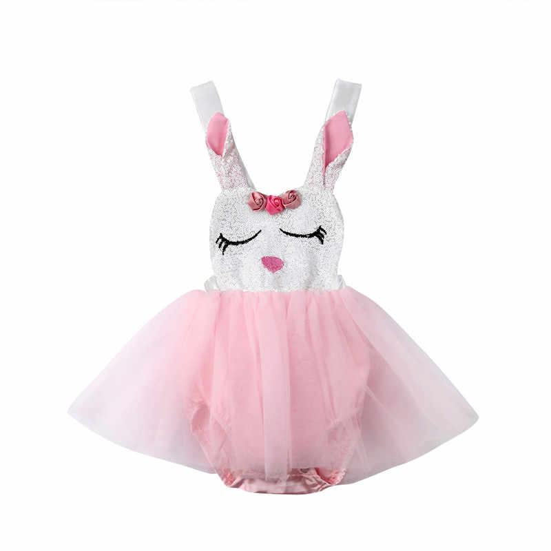 412a33de3 Fashion Infant Baby Girl Rabbit Lace Princess Dress Sequins Easter Clothes  Baby Girl Bunny Bow Tutu