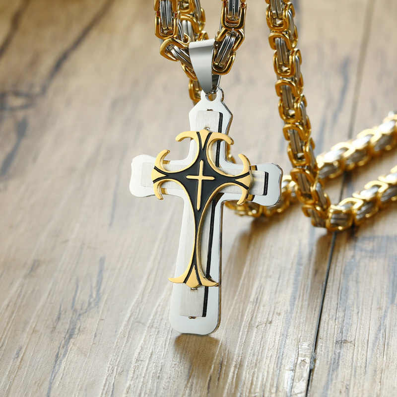 Vnox Cross Necklace For Men Byzantine Gold Silver Stainless Steel Chain Catholic Crucifix Pendant Male Punk Rock Ornaments