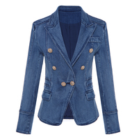 HIGH QUALITY New Fashion 2019 Designer Blazer Women's Metal Lion Buttons Double Breasted Denim Blazer Jacket Outer Coat