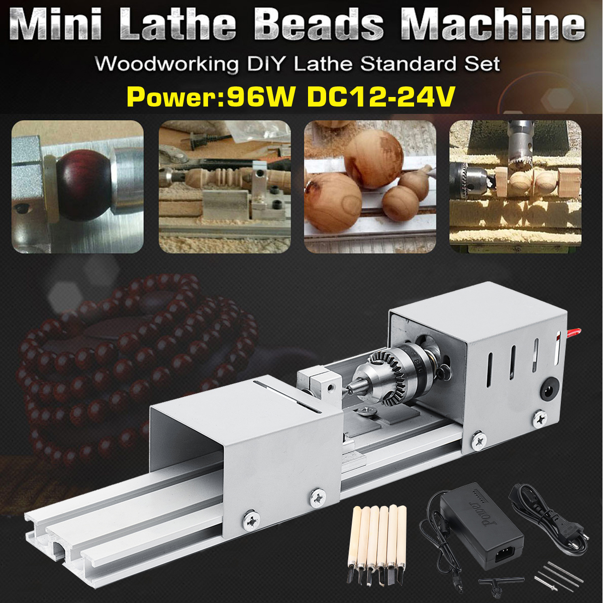 New 96W Mini Lathe Beads Machine Woodwork DIY Lathe Standard Set with Power DC12-24V carving cutter wolike mini lathe beads machine woodwork diy lathe standard set with power dc12 24v carving cutter wood lathe