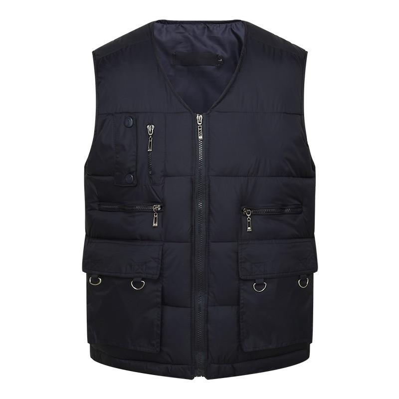 997e50cfca6 ZozoMan жилеты без рукавов разгрузки Мода жилет с много мужской пальто  карманов Военная ...