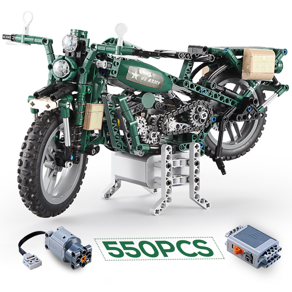 ww2 Building blocks World War II Motorcycle US military army motor Model bricks set kids toys