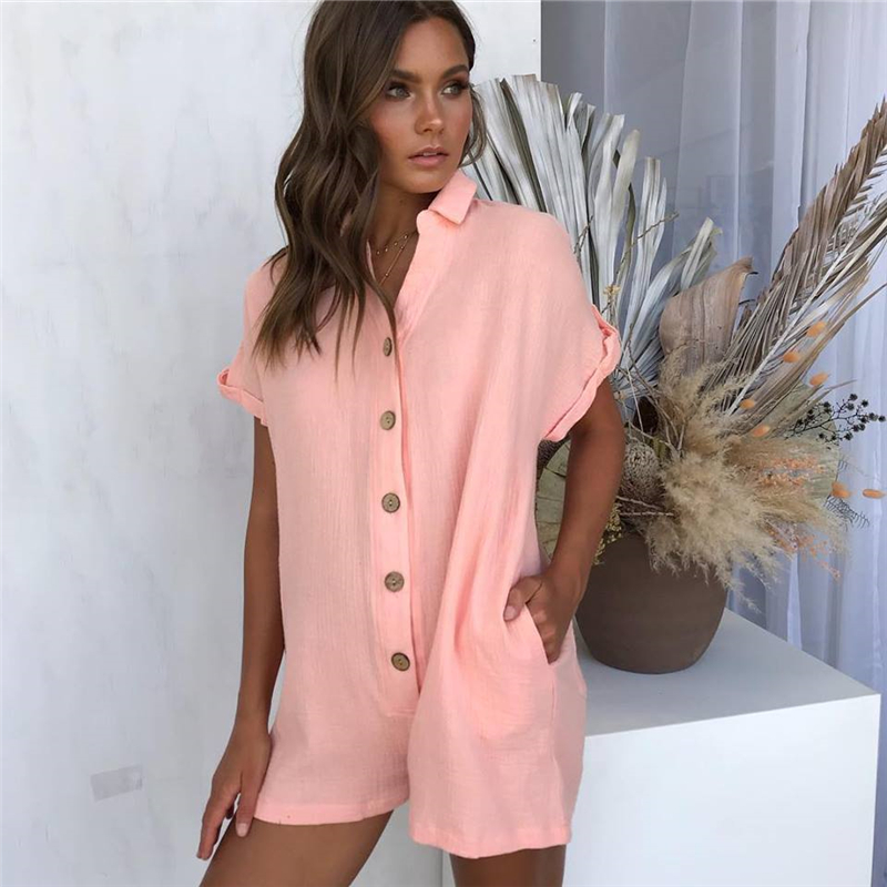 Sexy Women Fashion   Jumpsuit   Short Sleeve Lady Button Club Wear Summer Playsuit Bodycon Party   Jumpsuit   Romper Shorts