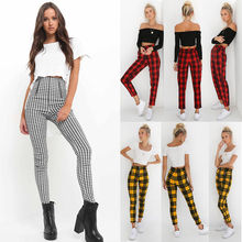2019 Women High Waist Pants Elastic Zipper Striped Plaid Female Side Stripe Casual Skinny Trousers Pencil Pants Plus Size S-2XL недорого