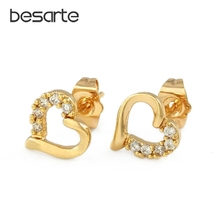 Heart Stud Earrings For Women Oorbel Boucles D'oreilles Femme Brincos Aro Gold Earings Ohrringe Orecchini Wedding Jewelry E3059