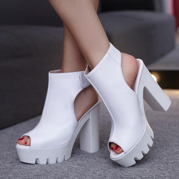 Ouvert white Chaussures En Sandales Black Pour Hauts La Talon Plateforme Cm Square 12 Bout Talons Crochet Solide Soirée Noir À Couleur Cheville De New Bride Femme n4I8xS