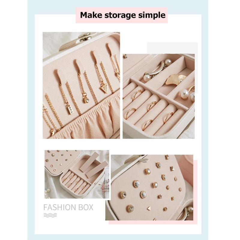 Korean Style Girl Jewelry Box Portable Earrings Plate PU Leather Earrings Ring Necklace Jewelry Storage Box Organizer Case in Storage Boxes Bins from Home Garden