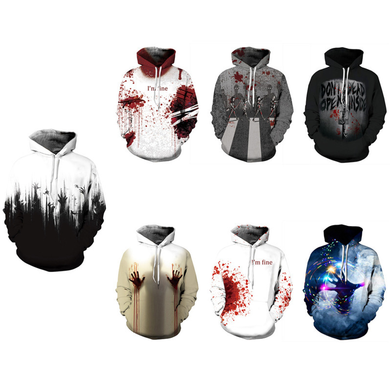 Mens Womens Hoodie Sweatshirts 3D Horror Blood Printed Pullovers Crewneck Casual Hoody Clothes Long Sleeve Hooded Tops