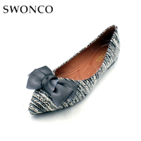 SWONCO Flat Basic Shoes For Women Casual 2019 Summer Butterfly Knot Solid Slip On Shoes For Female Pointed Toe Rubber Fashion
