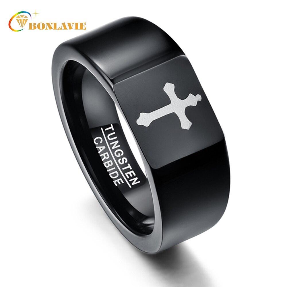 Vintage Style croix couleur noire hommes femmes anneaux carbure de tungstène Couple Anillos bandes de mariage livraison directe