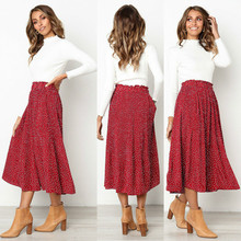 2019 Hot Women Boho Floral Dot Pleated Long Skirt Female Casual Full Swing Skirt Stretch High Waist Elegant Maxi Skirts stretch knit swing skirt
