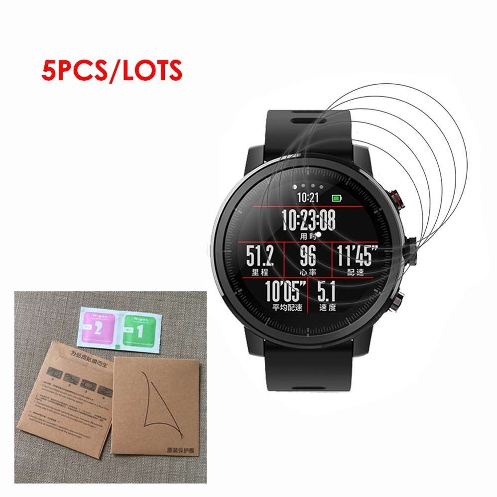 5Pack For Xiaomi Huami Amazfit Stratos Pace 2 2s Smart Watch Film Full Coverage Soft TPU Screen Protector LCD Guard Shield Cover