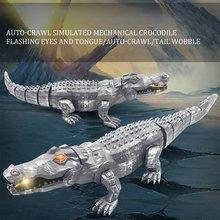 RC Toys Auto-Crawl Simulated Mechanical Crocodile Toy with LED light Sound Gifts Toys for Children Play Fun(China)