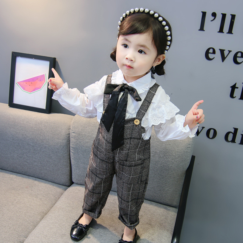 2019 new sweet children 39 s suit girls spring and autumn baby long sleeved lace shirt plaid bib children 39 s clothing 1 6 years in Clothing Sets from Mother amp Kids