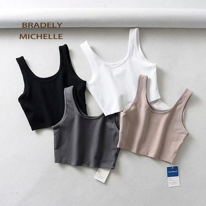 BRADELY MICHELLE 2019 sexy women summer crop   tops   sleeveless short cotton u collar knitted bar