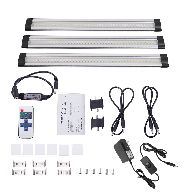 3pcs / set SMD3528 LED under cabinet light with remote control LED rigid bar hard DC12V Led output tube cabinet light kitchen