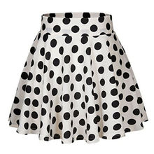 Summer Skirts 2019 New Vintage Women Stretch High Waist Flared Pleated Polka Dot Short