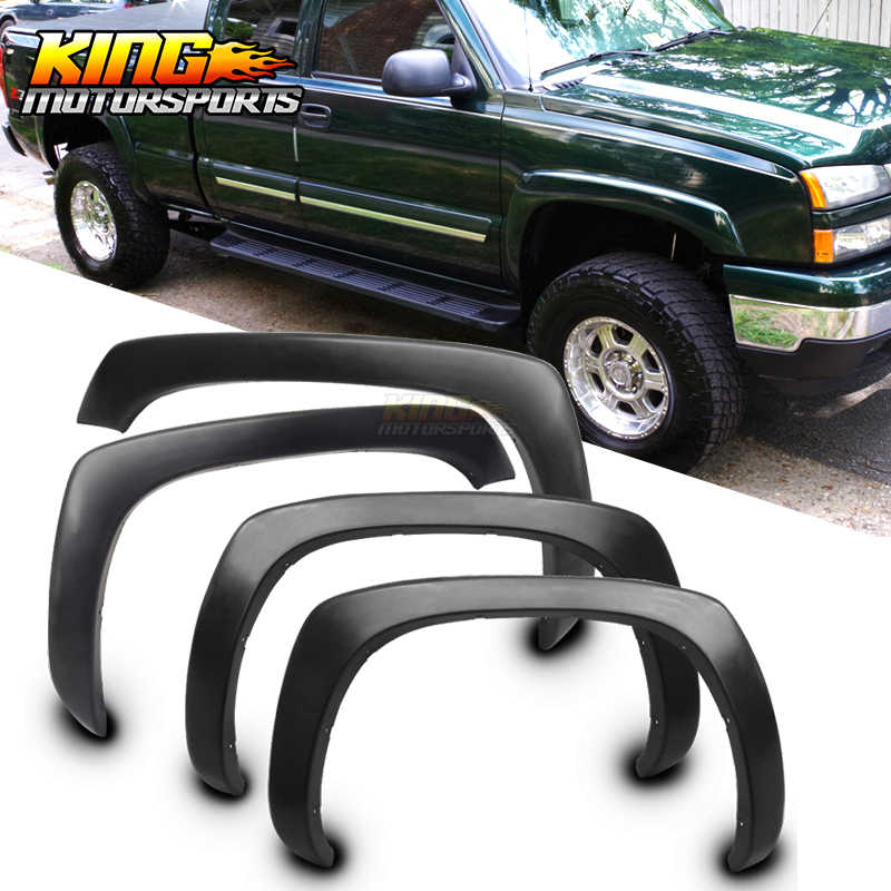 Fits 99-06 Chevy Silverado GMC Sierra OE Style Fender Flares Wheel Cover Vent Smooth Unpainted Black PP