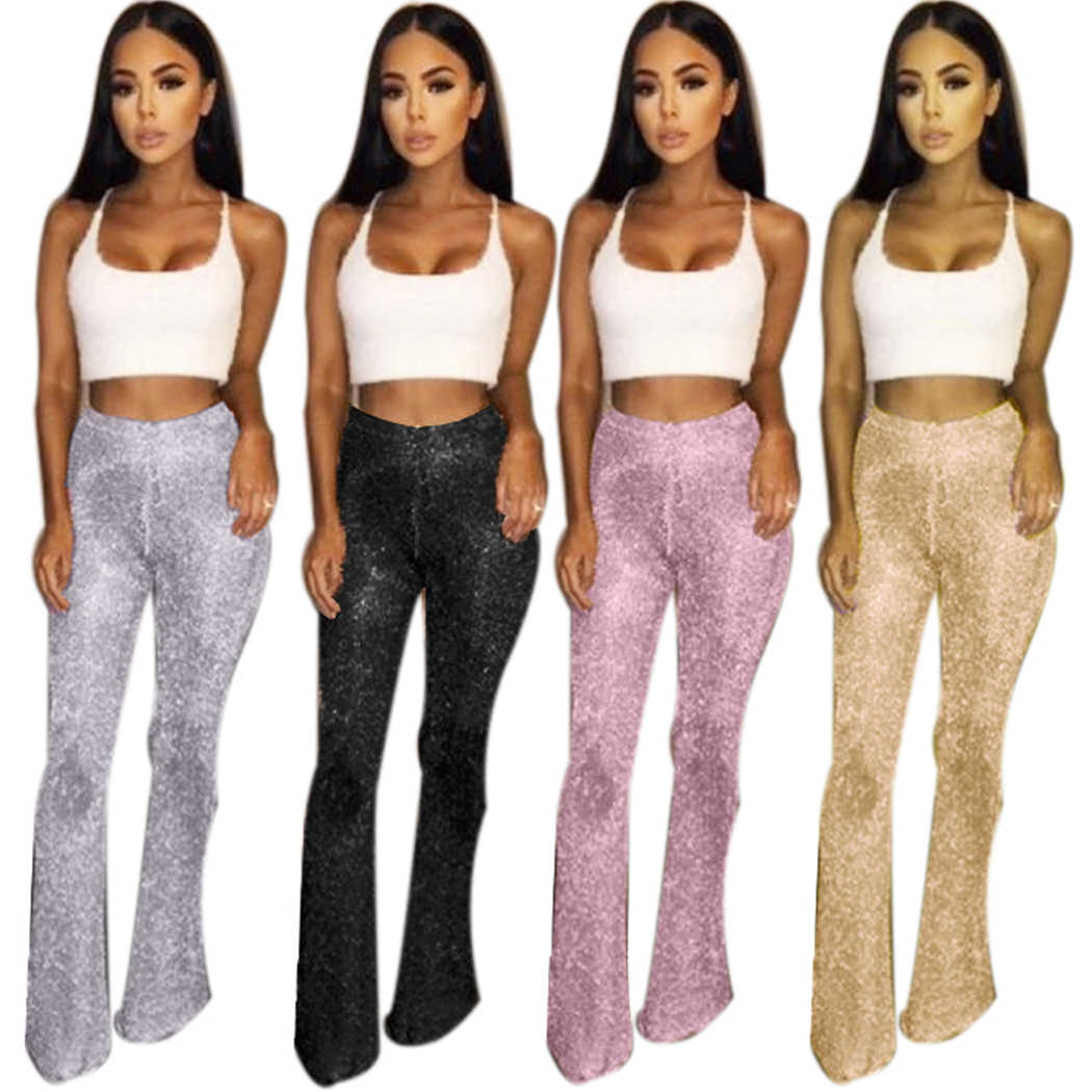 957c093c Sexy High Waist Knitted Flare Pants Women Metal Color Sequined Wide Leg  Pants Female Club Party