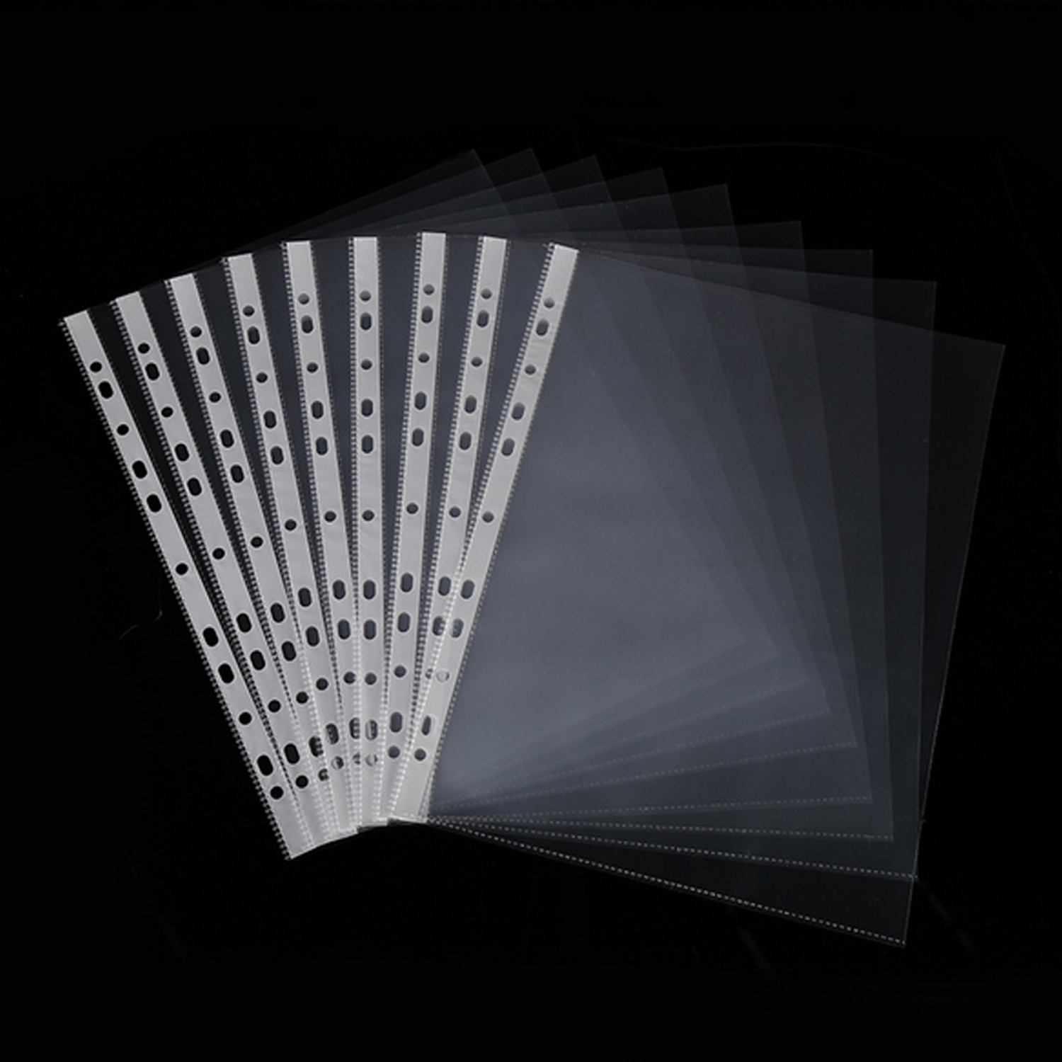 100PCS A4 Size Multipurpose 11-Hole Loose Leaf Clear PVC Sheet Page Protectors For Documents Files Paper