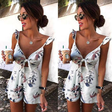 Women's Floral Print Holiday Mini Playsuit Fashion Sexy Ladies Sleeveless V-Neck Jumpsuit