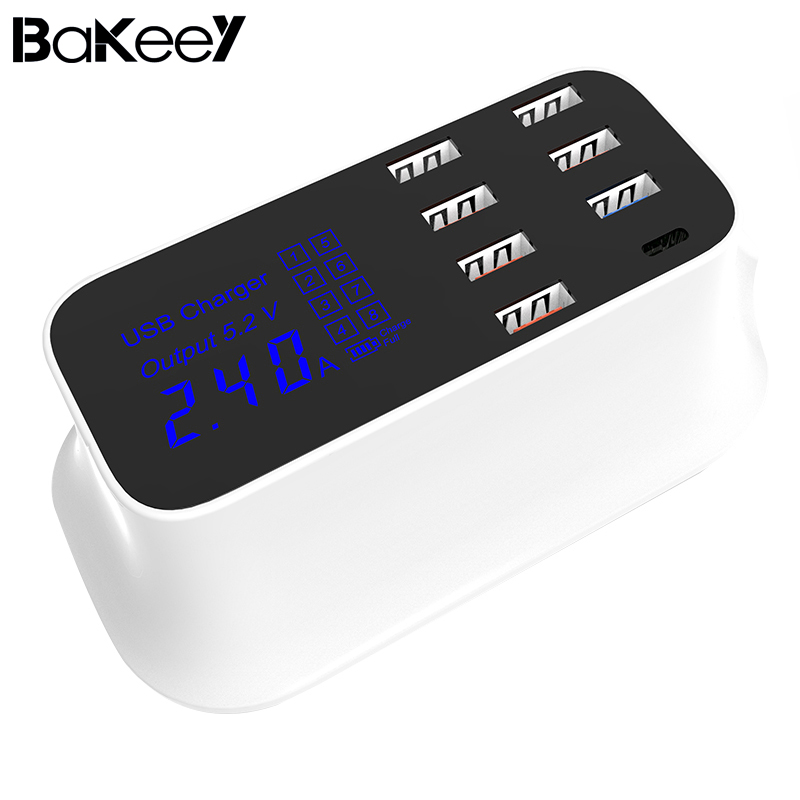 Bakeey QC3.0 8A Digital LED Voltage Display Type C 7 USB Ports Travel Desktop Charger US Plug