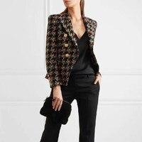 New Fashion Runway 2018 Designer Blazer Women's Lion Metal Buttons Plaid Blazer Tweed Wool Blazer Jacket