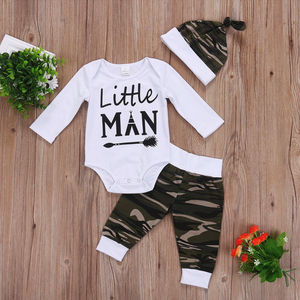 Pudcoco Boy Clothes US Stock 3Pcs Newborn Baby Boy Camo Tops Romper Pants Hat Outfits Set Clothes(China)