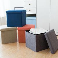 Multifunction Cotton Linen Storage Ottoman Foldaway Seat Stool Chest Toy Box Pouffe Bench