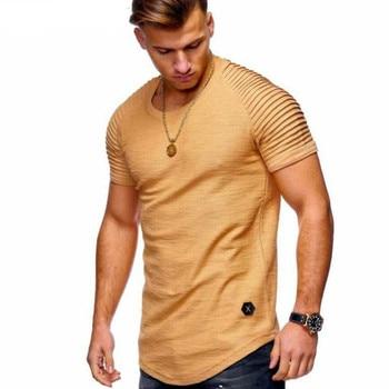 Fashion T shirt Men Pure color design of stripe ruffle sleeve Tee Shirt Slim Short Sleeve Tshirt O-Neck Tops Brand T-shirt - discount item  40% OFF Tops & Tees