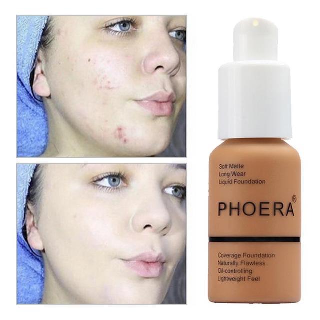 Mate de Control de aceite corrector Fundación crema completa cobertura de larga duración iluminar líquido corrector Fundación maquillaje, Maquiagem