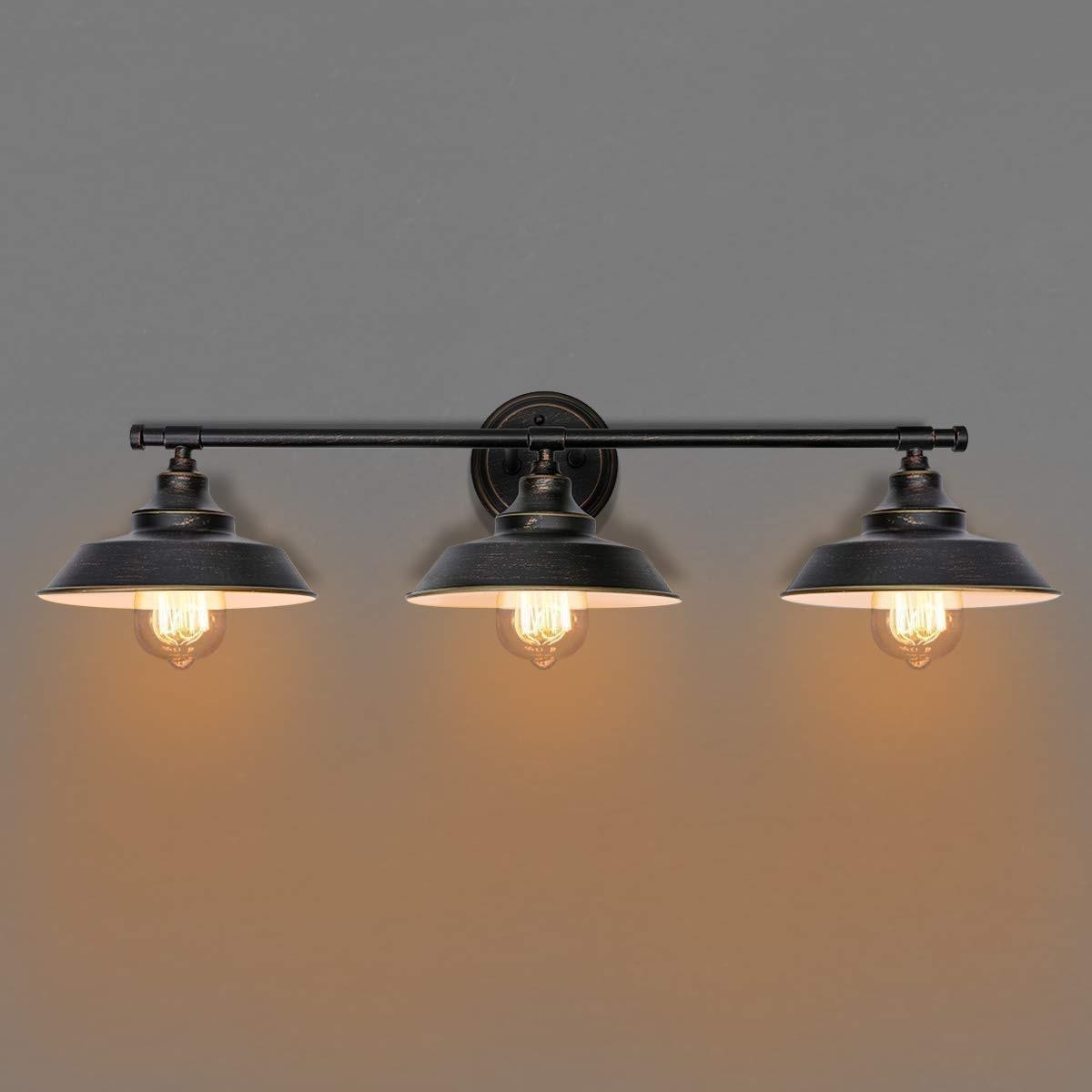 Bathroom Vanity Light 3 Light Wall Sconce Fixture Industrial Indoor Wall Lamp Vintage Bedroom Bedside Antique Wall Mount Light