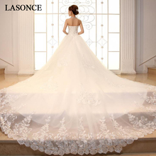 LASONCE Luxury Crystal Strapless Sequined Ball Gown Wedding Dresses Lace Appliques Court Train Backless Bridal Gowns lasonce lace appliques ball gown wedding dresses crystal strapless off the shoulder sequined backless bridal gowns