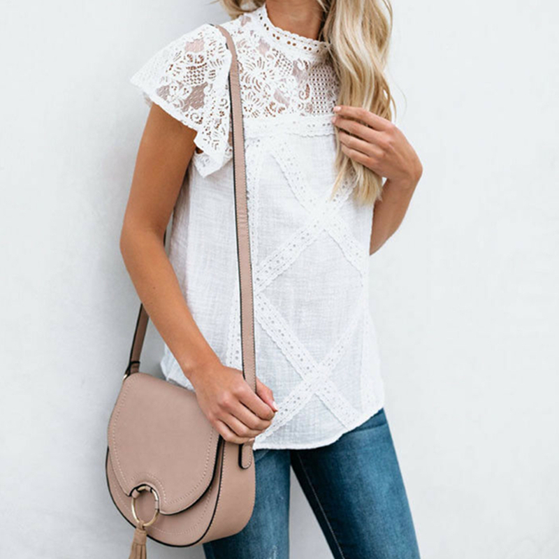 2019 Lace   Blouse   Women Summer Casual Short sleeve Lace Patchwork Tops Fashion Women Loose   Blouse     Shirt