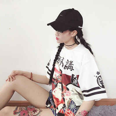 春夏 Genki 日本ガールルース Tシャツ学生ティーンエイジャー原宿 tシャツ女性女性の手紙トップ