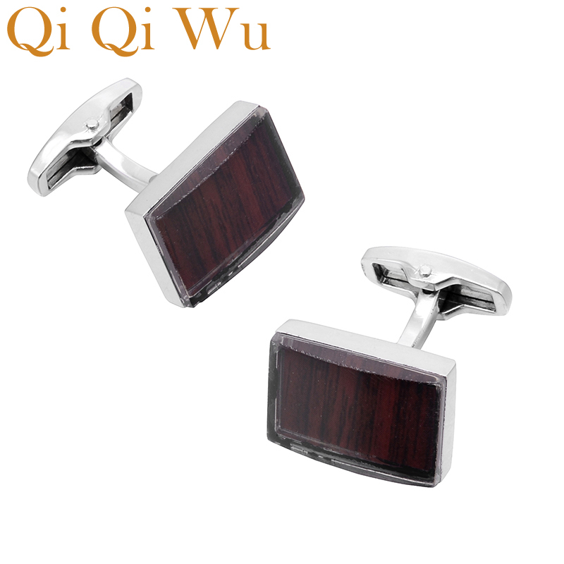 2018 Men Cufflinks Luxury Brand High Quality Square red wine Gemelos For Mens French Fathers Day