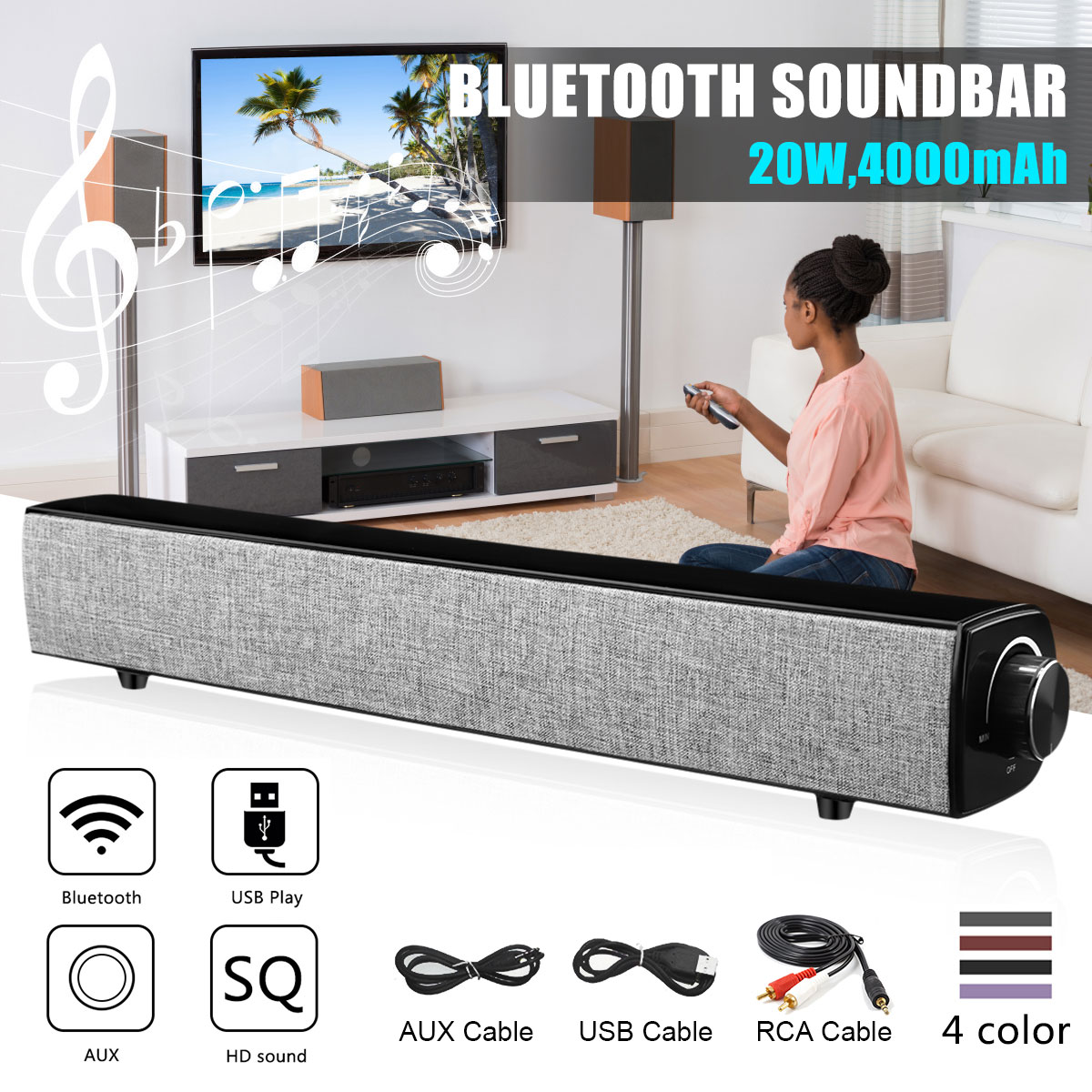 Bluetooth Speaker 40W Sound Bar TV Home Theater Remote Control For TV//PC//Table